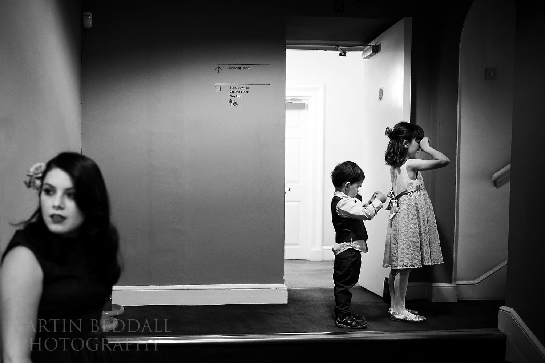 Kids wait to greet the bride
