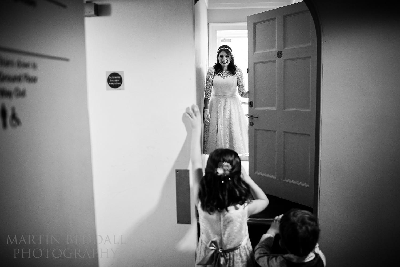 Children greet the bride