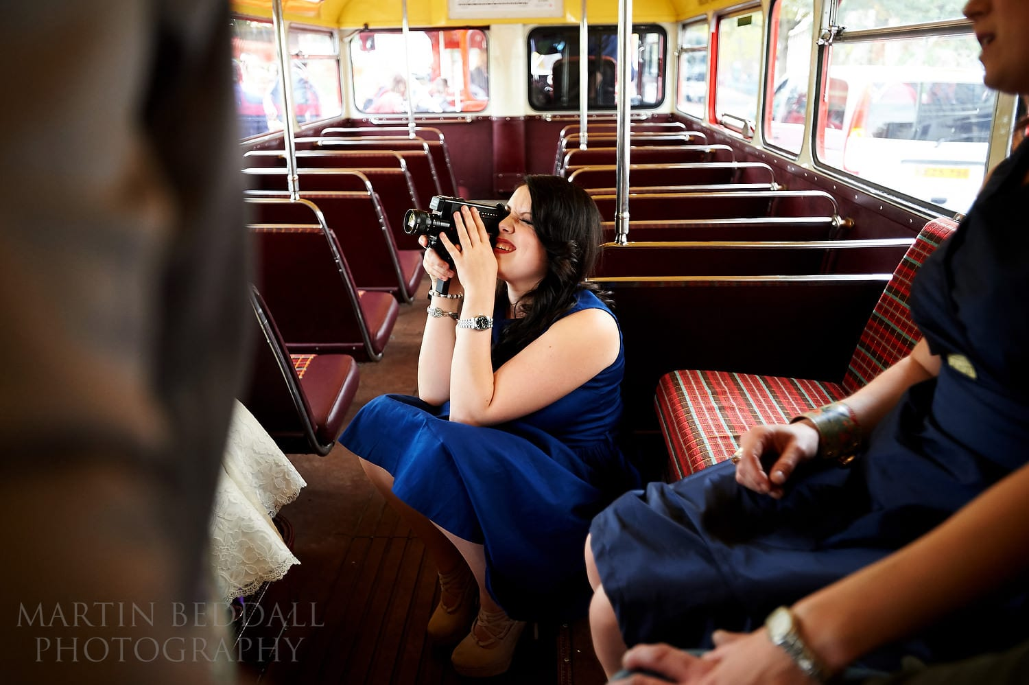 Filming on the bus