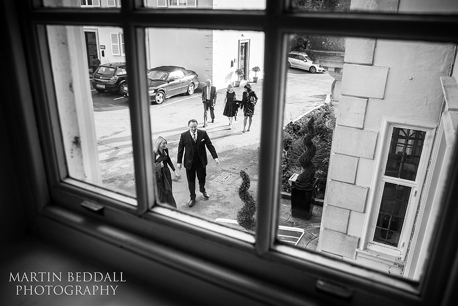Wedding guests arrive at Gorse Hill