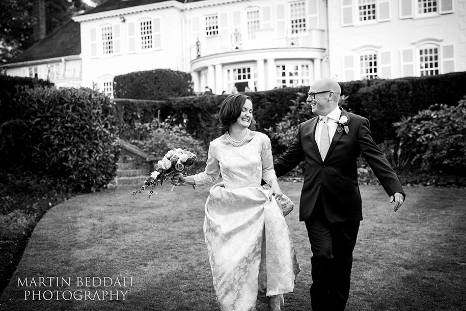 Bride and groom at Gorse Hill hotel in Surrey