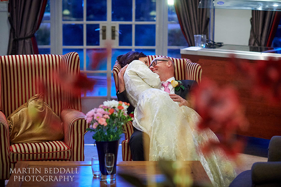 Quiet moment for the bride and groom at Gorse Hill hotel
