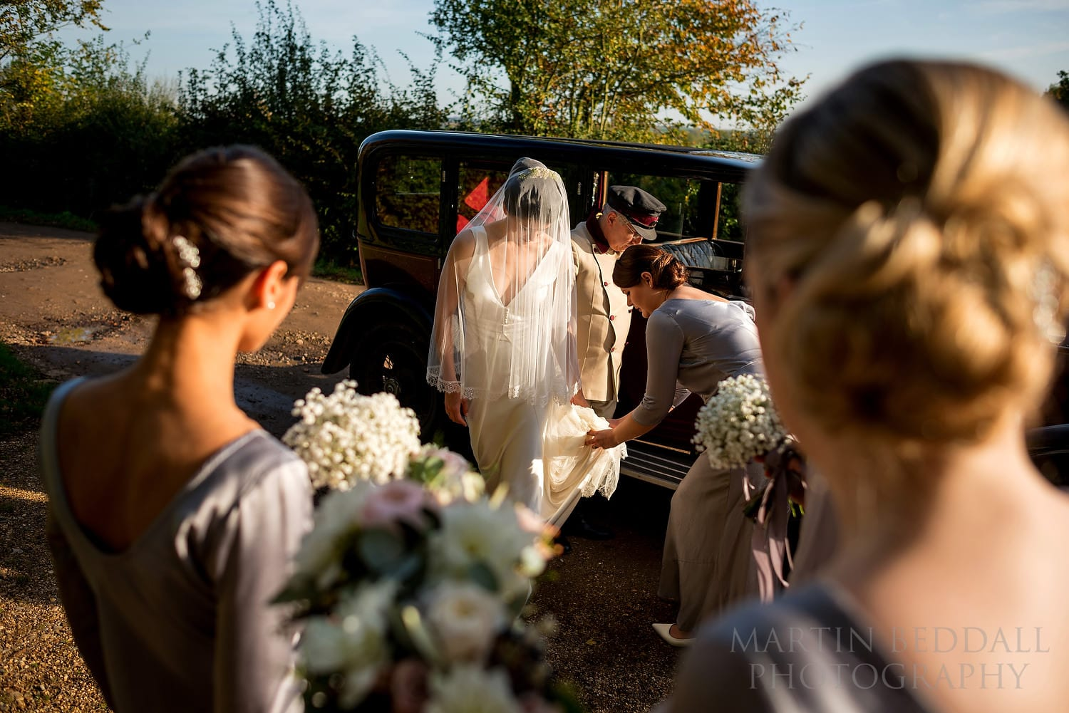 Bride arrives at Layer Marney Tower church