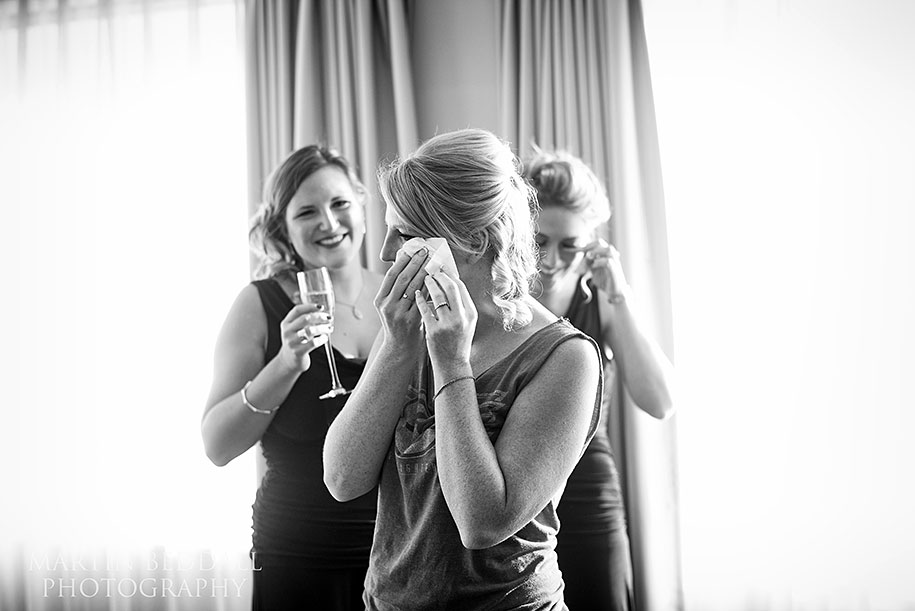Tearful bride during preps