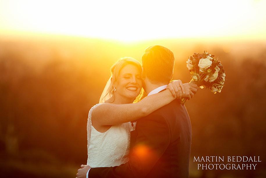 Bride and groom portrait at Pembroke Lodge at sunset
