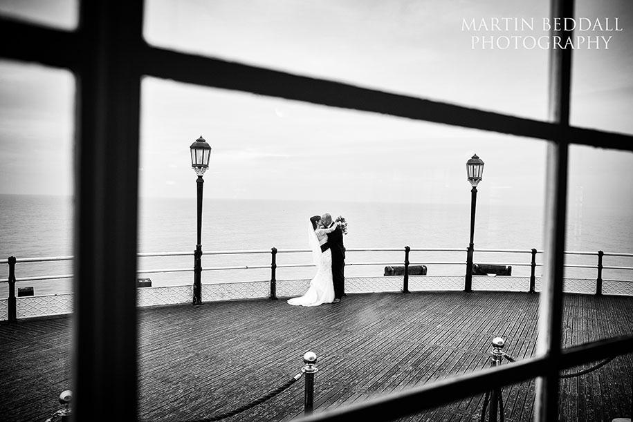 Bride groom portrait on Worthing Pier