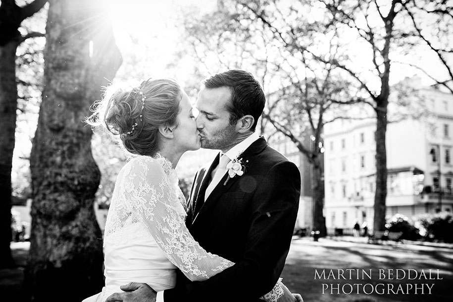 London bride and groom portrait