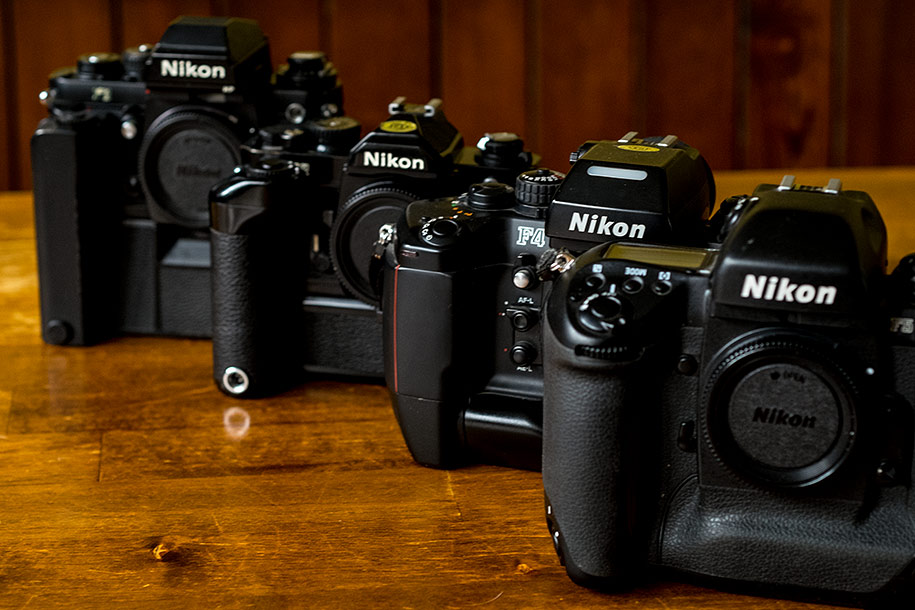 Old Nikon film cameras used by Nikon wedding photographer Martin Beddall