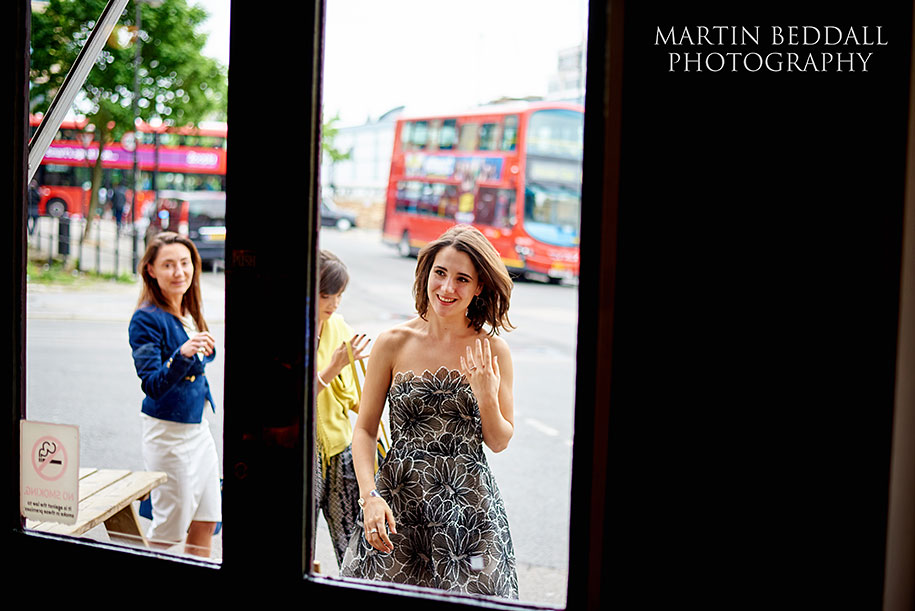 Bride arrives at The Green pub in Clerkenwell