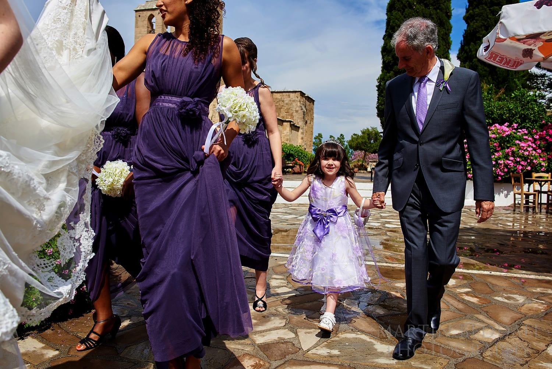 Flower girl at Bellapais Abbey wedding