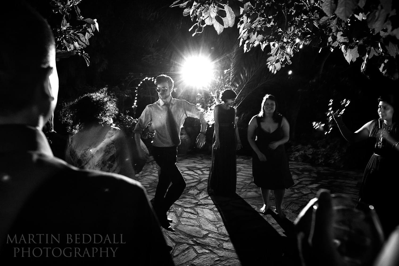 Dancing outside at Bellapais Abbey wedding