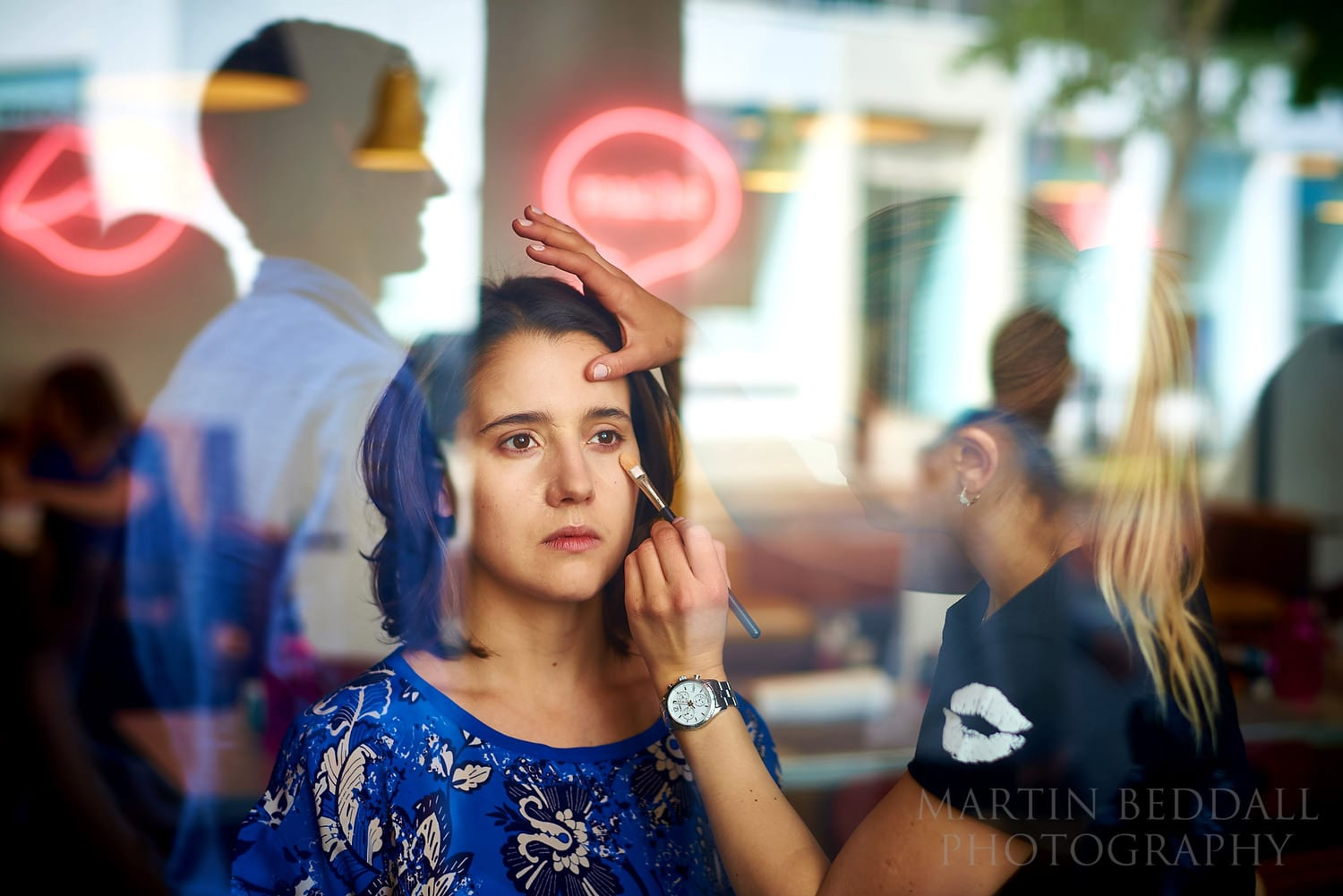 Bride getting ready at The Hoxton in London
