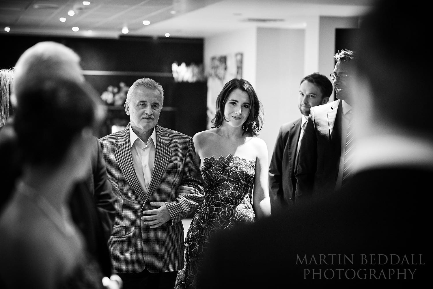 One Aldwych wedding - bride walks down the aisle with her father