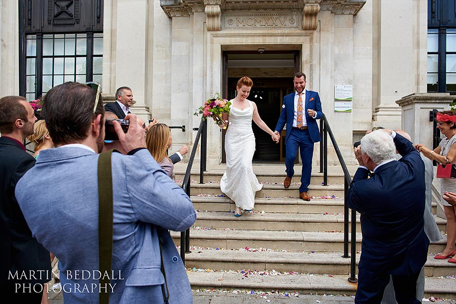 Bride and groom leave Islington Town hall