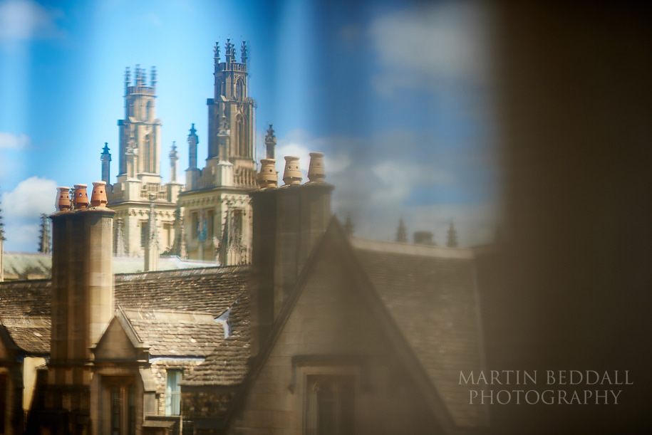 Oxford rooftops through the window