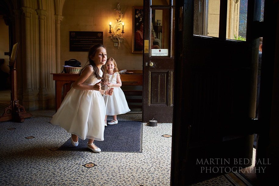 Flower girls at Harris Manchester college in Oxford
