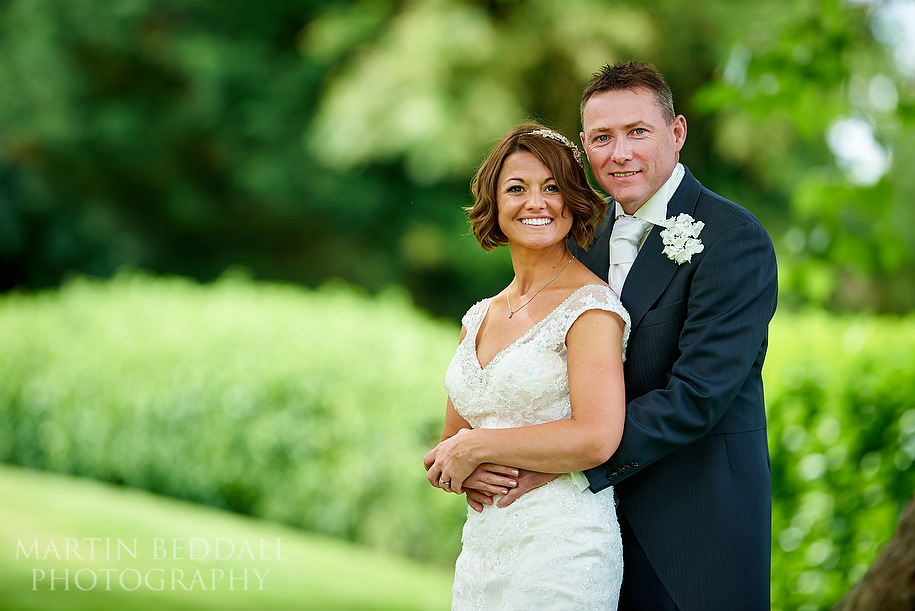 Bride and groom portrait at Maison Talbooth wedding