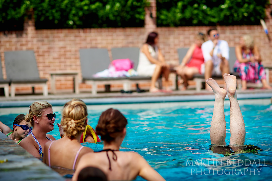 Pool party wedding at Maison Talbooth