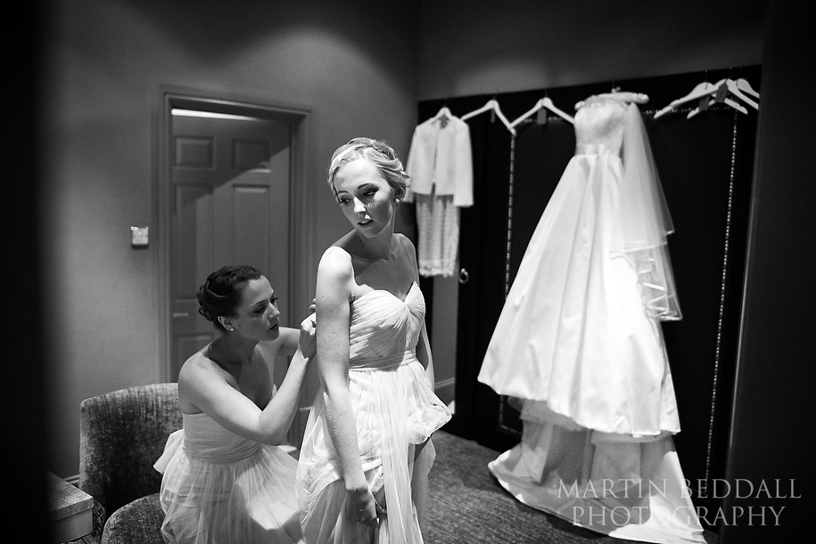 Bridesmaids getting ready at Nutfield Priory