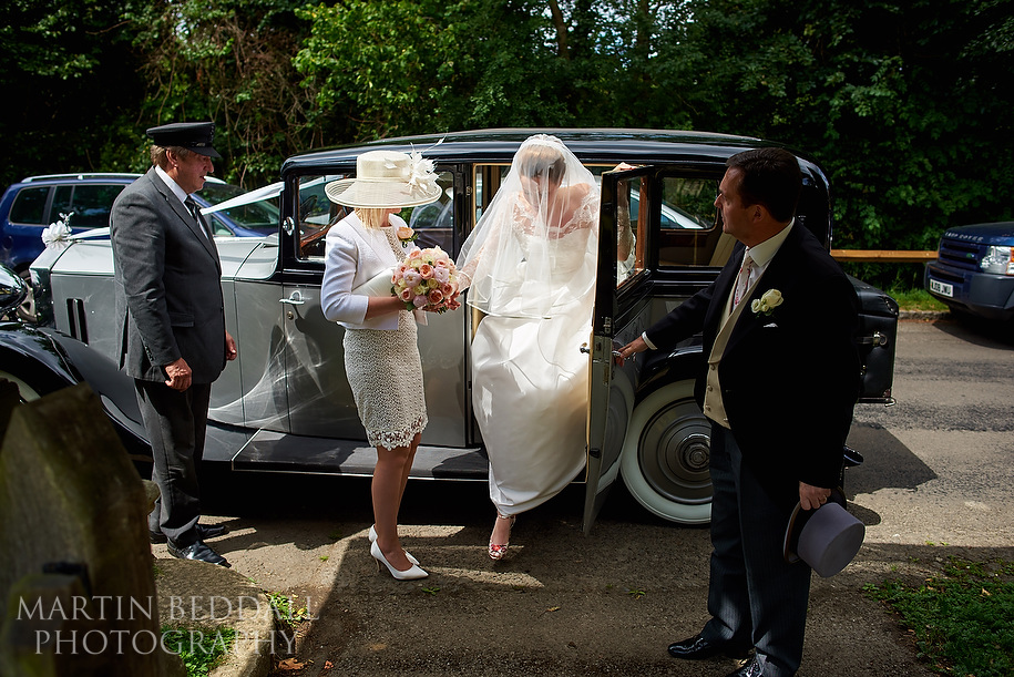 Bride arrives at the church