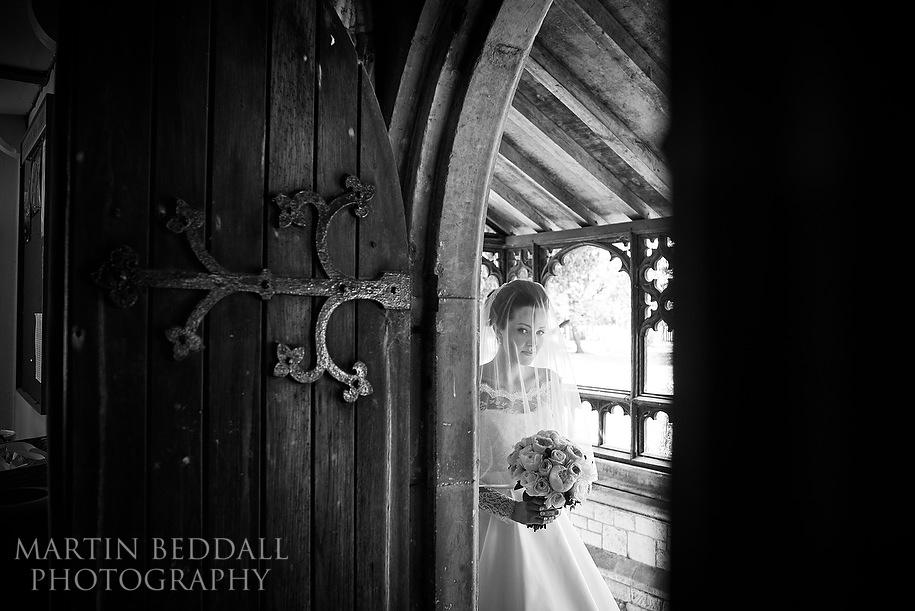 Bride waits to enter the church