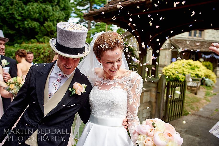 Confetti at a Surrey wedding