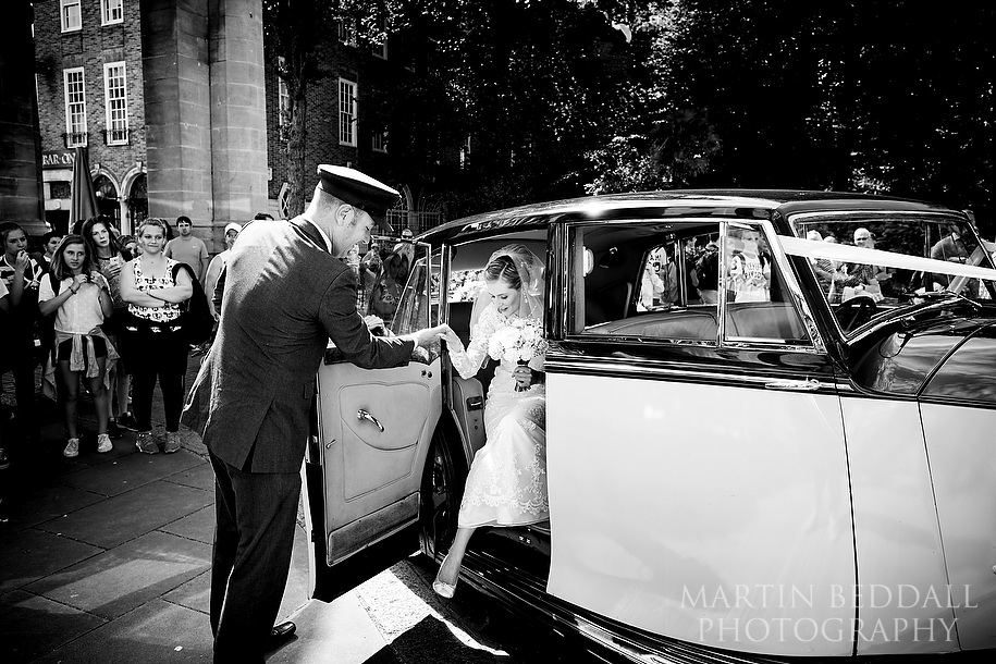 Bride arrives for a Royal Pavilion wedding