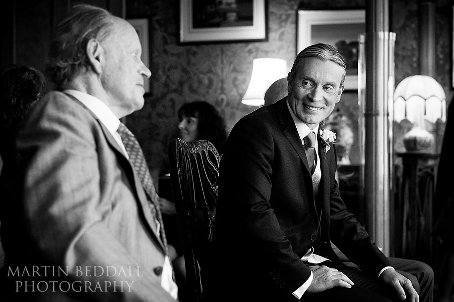 Groom chats with his father before Royal Pavilion wedding