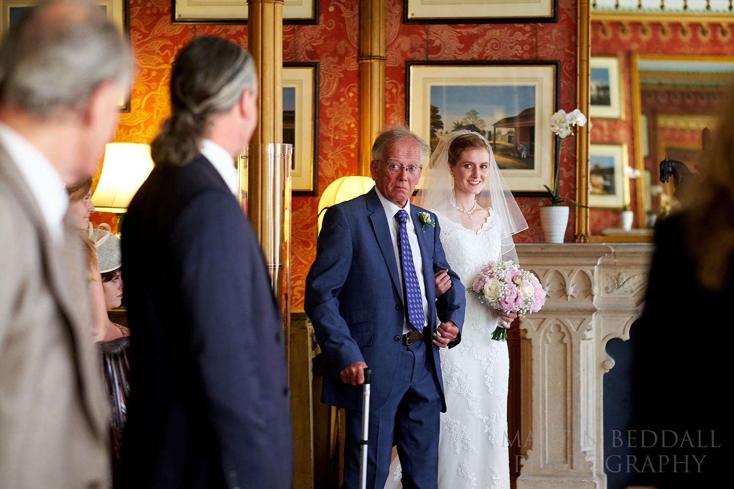 Bride enters with her father for a Royal Pavilion wedding