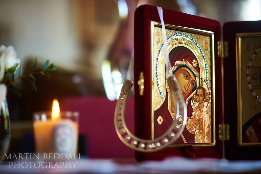 Russian religious icons as luck for the bride