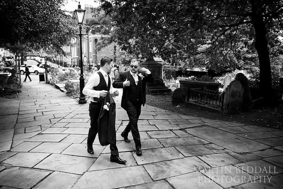 Groom arrives with his best man at Hampstead Parish church