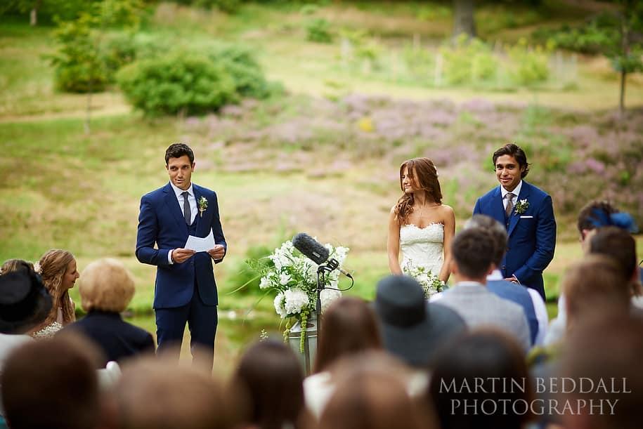 Outdoor west sussex wedding ceremony