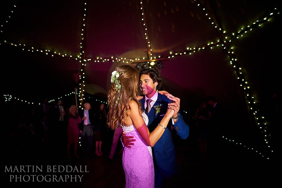 First dance in a wedding tipi