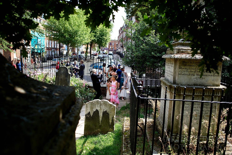 Wedding guests arrive at Hampstead Parish Church
