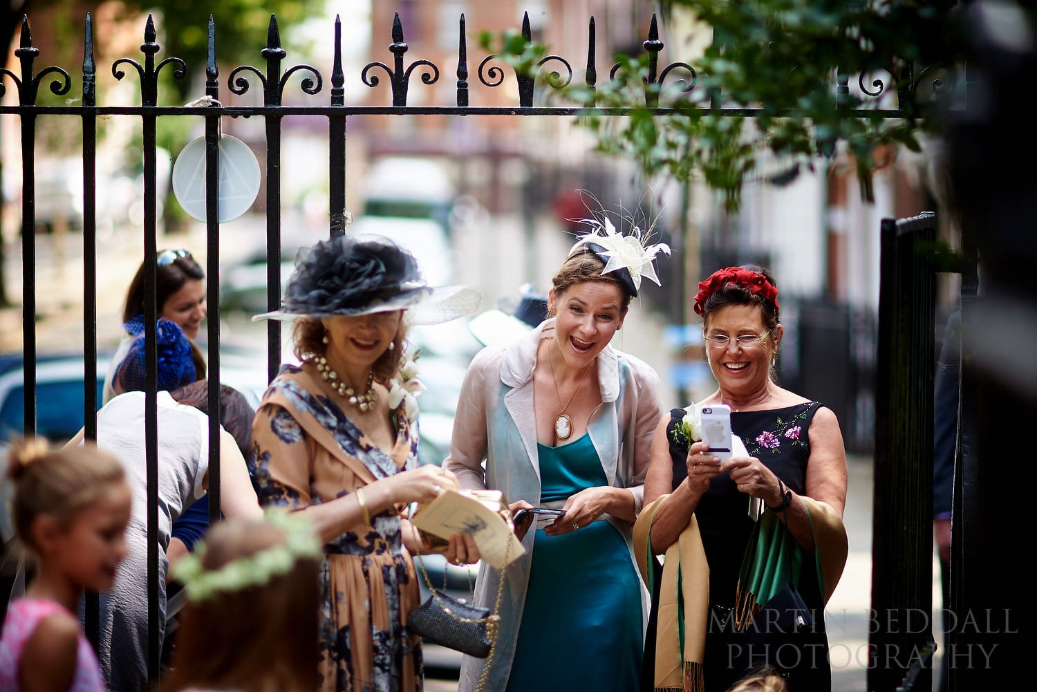Guests arrive at Hampstead wedding