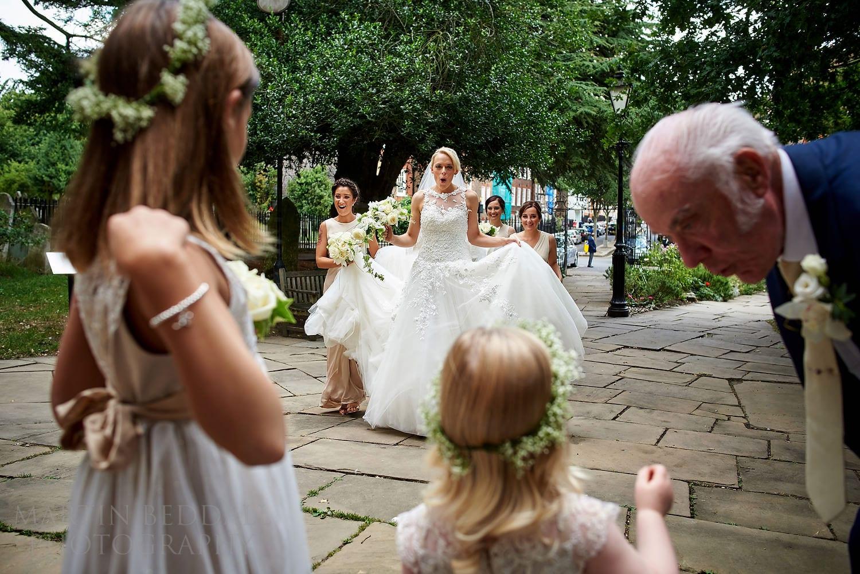 Bride arrives at Hampstead Parish church wedding
