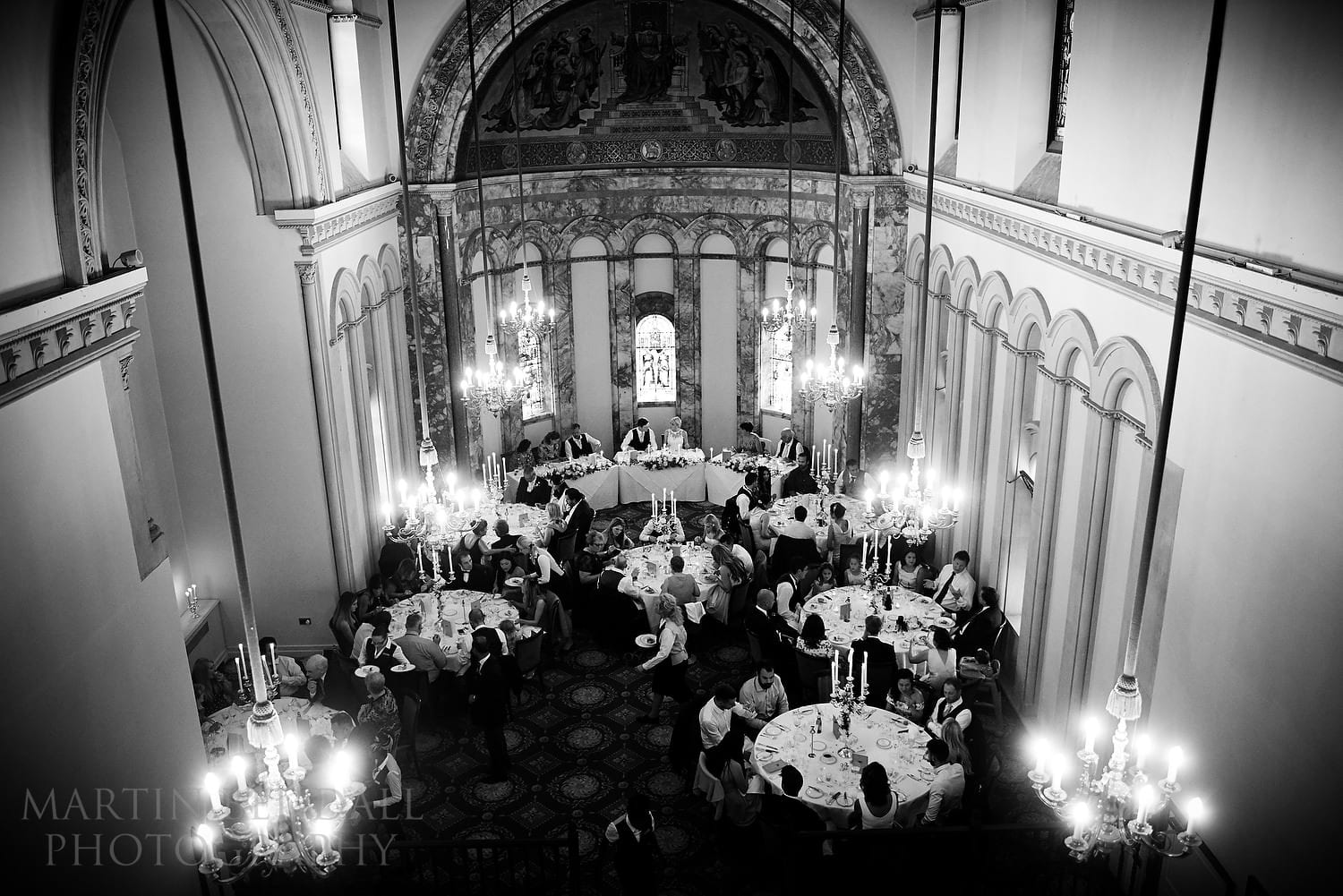 Wedding meal in the old chapel at Luton Hoo