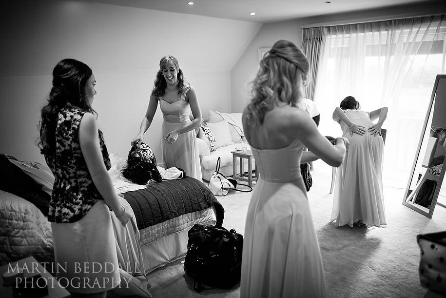 Bridesmaids get ready