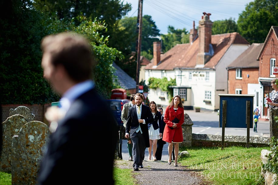 Guests arrive for a Wiltshire wedding