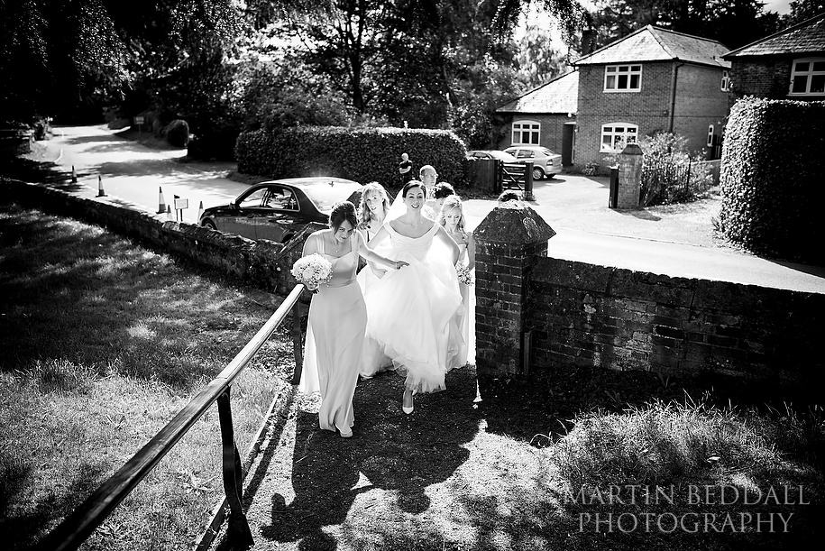 Arriving for a Wiltshire wedding