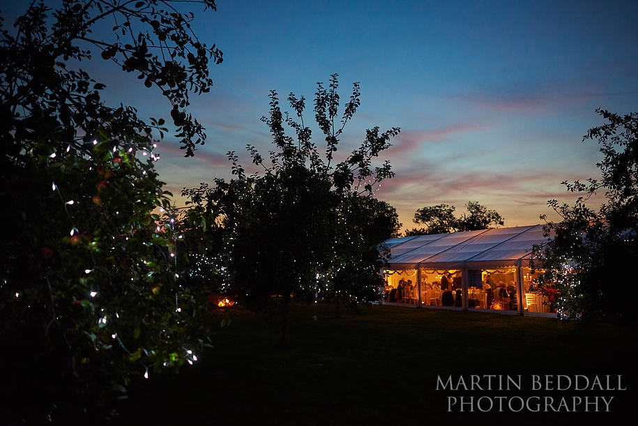 Wedding marquee in an orchard