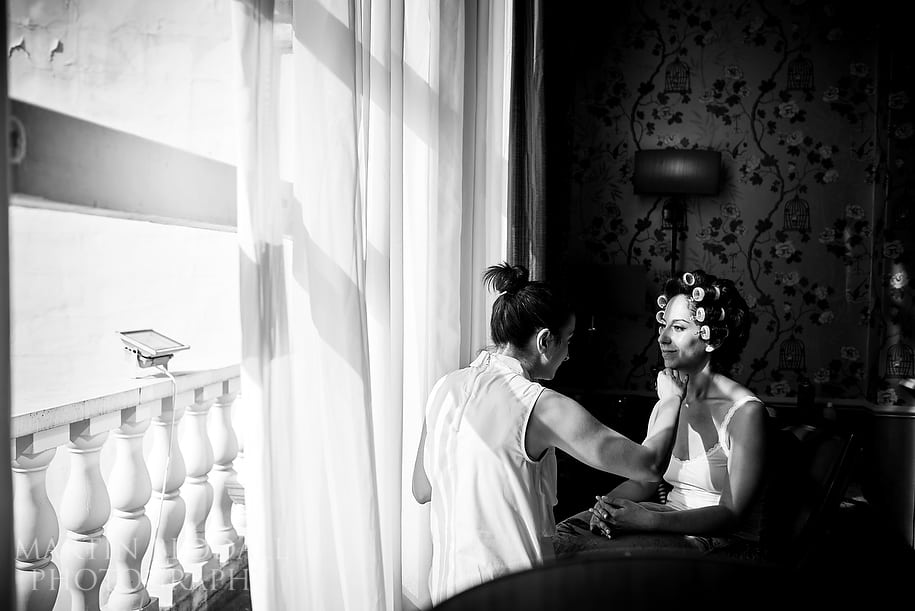 Bride gets ready at The Colonnade hotel in London