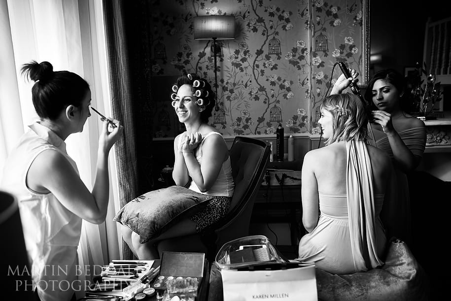 Bride and bridesmaids get ready at The Colonnade hotel