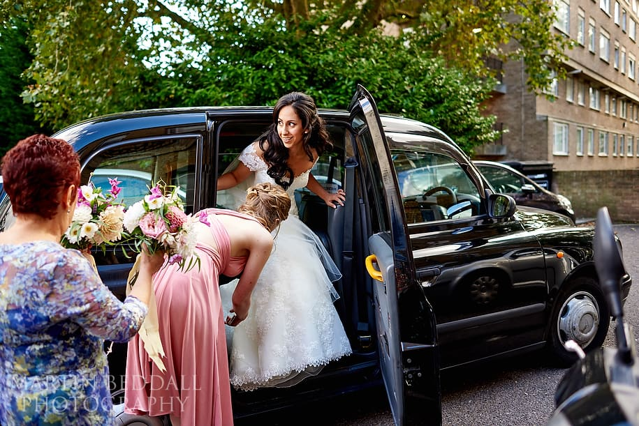Bride arrives at the Amadeus for the wedding