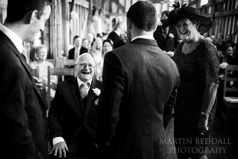 A joke before the wedding ceremony begins