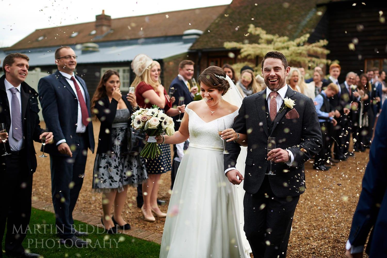 Confetti at autumn Gate St Barn wedding