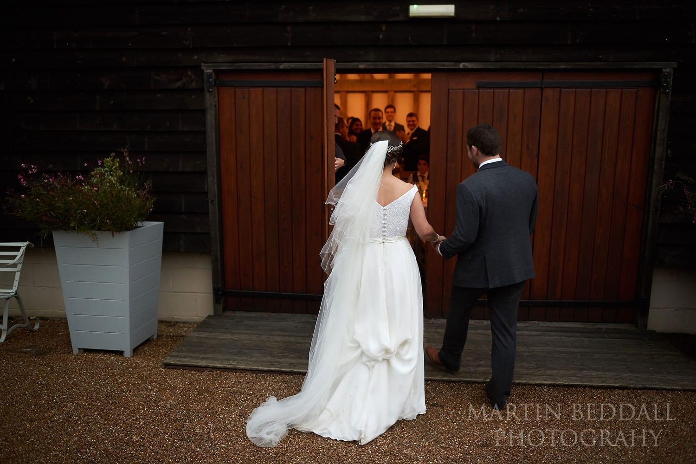 Entering Gate St Barn for the wedding dinner