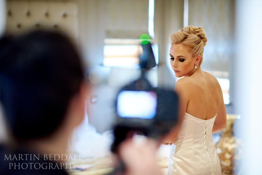 Getting ready with the videographer in the way