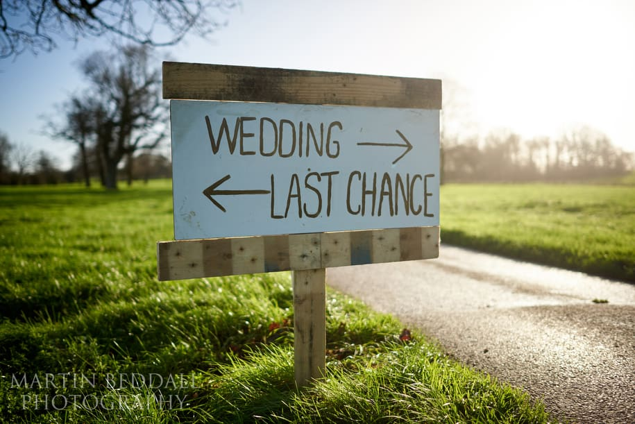 Homemade wedding signs at Wasing Park
