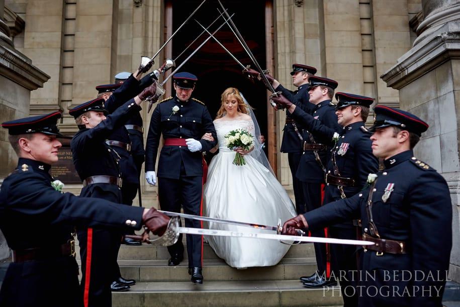 Guard of honour at Brompton Oratory wedding